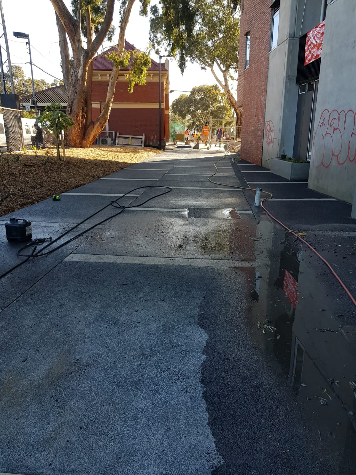 Pressure wash cleaning train station Brunswick