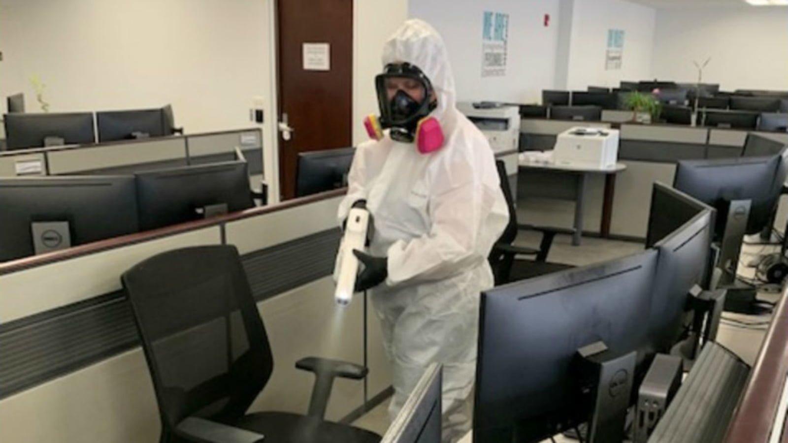 Coronavirus sanitising cleaning